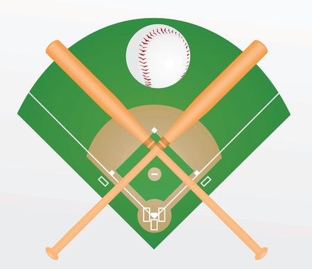 Baseball ball and bats. vector illustration