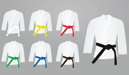 Colored belts with kimono. vector illustration design Illustration