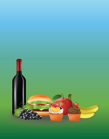 Ilustración de vector de comida de picnic sobre fondo degradado azul y verde.