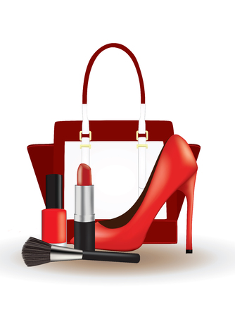 Make-up set with red shoe and a handbag, vector illustration on a white background Stock Illustratie