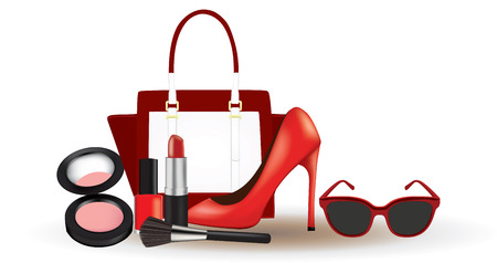 Woman makeup with bag, shoe and sunglasses, vector