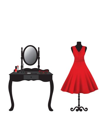 Red dress on mannequin and dressing table with makeup, vector
