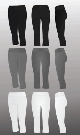 Women three quarter's pants. vector illustration