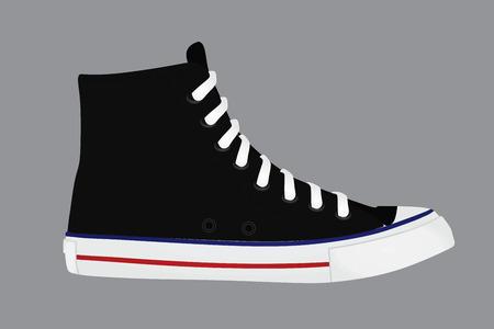Zapatilla deportiva negra. ilustración vectorial