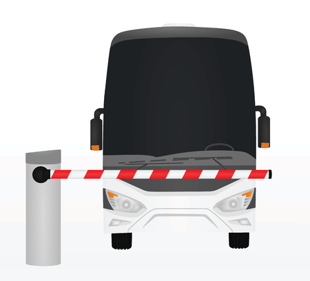 Bus behind of barrier. vector illustration