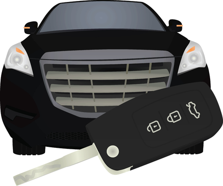 Car key in front of car. car buying concept. vector illustration