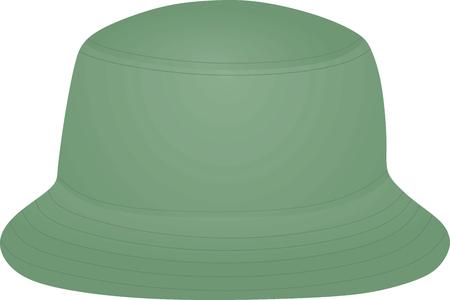 Green fisherman hat. vector illustration