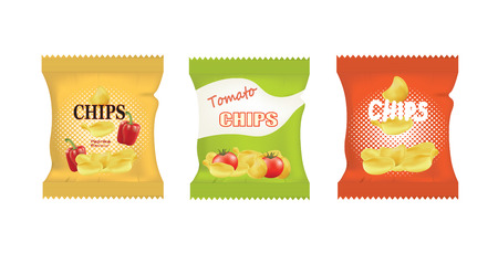 Potato chips bags. vector illustration Illustration