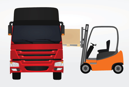 Forklift loading container to delivery truck. vector illustration