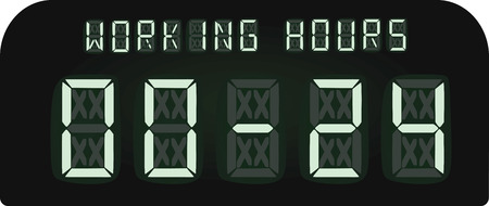 Working hours electronic display. vector illustration