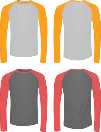 Camiseta manga larga dos colores. ilustración vectorial