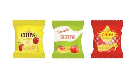 Kartoffelchips-Taschen-Design mit verschiedenen Geschmacksrichtungen, Vektor