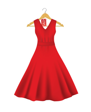 Red dress on a hanger with sale tag, vector Stock Illustratie