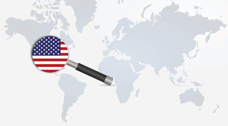 USA flag in magnifying glass. vector illustration