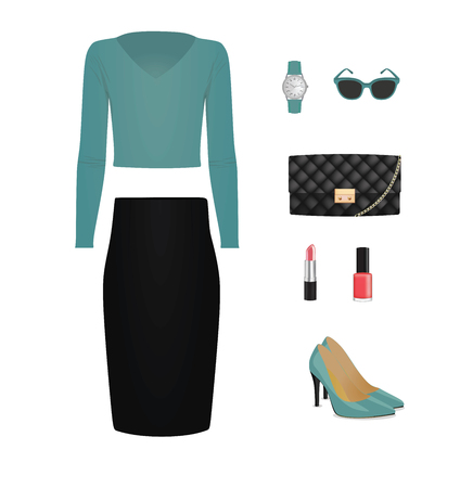 Women set. sweater, skirt, bag and shoes with cosmetic. vector illustration