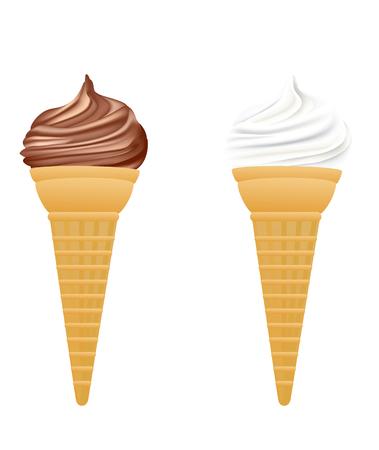 Ice cream in cone, vector