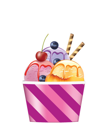 Ice cream cup with strawberry and blueberry, vector