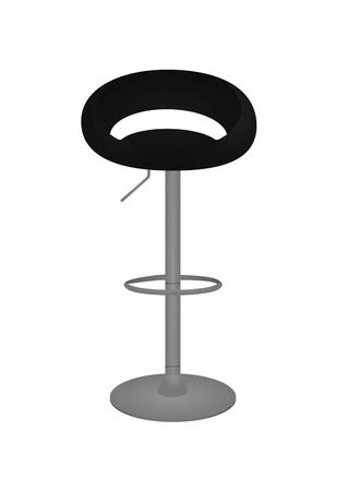 Silla de bar negra. ilustración vectorial