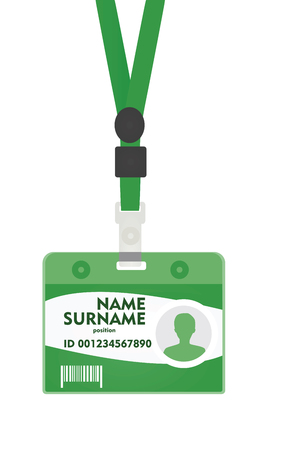 Green id lanyard. vector illustration