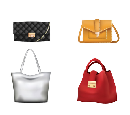 Colorful woman handbag set. vector illustration