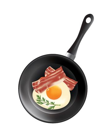 Frying pan with egg and bacon, vector
