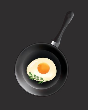 Frying pan with egg, vector Фото со стока - 128609052