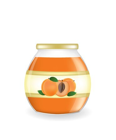 Apricot jam jar, vector Illustration