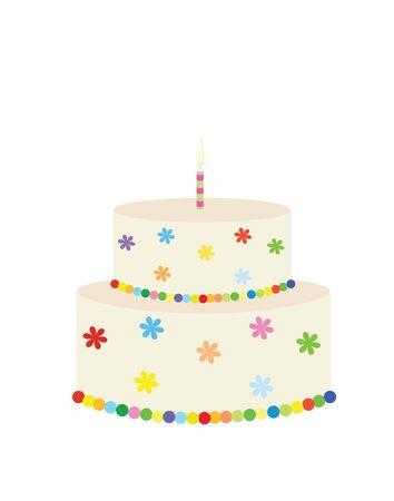 Big colorfull birthday cake. vector illustration Ilustracja