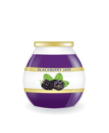 Blackberry jam jar. vector illustration Illustration