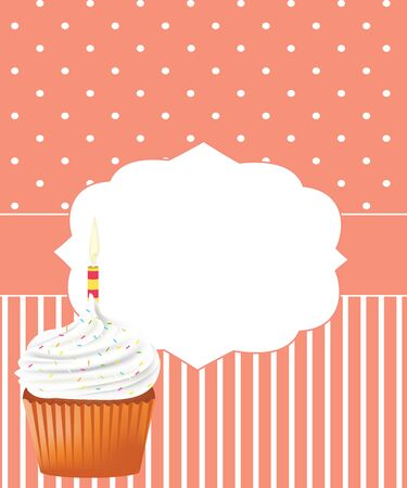 Birthday card with cupcake, vector