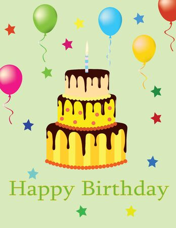 Happy birthday card with cake and balloons, vector Ilustracja