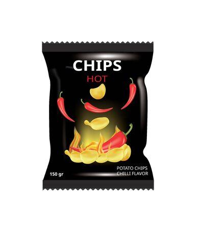 Potato chips bag with chili, vector illustration