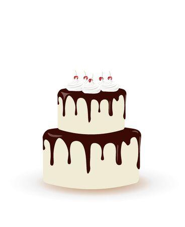 Big birthday cake with cherries. vector illustration