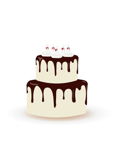 Big birthday cake with cherries. vector illustration