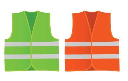 Safety green and orange vests. vector illustration  イラスト・ベクター素材