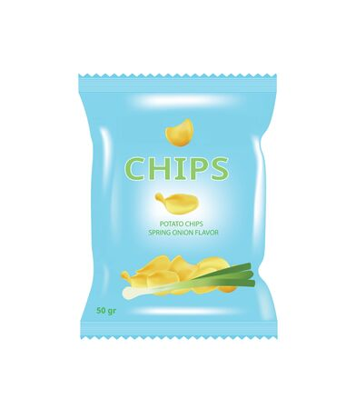 Spring onion potato chips bag. vector illustration 일러스트