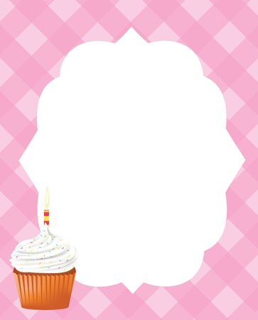 Birthday card template for girls, vector Ilustracja