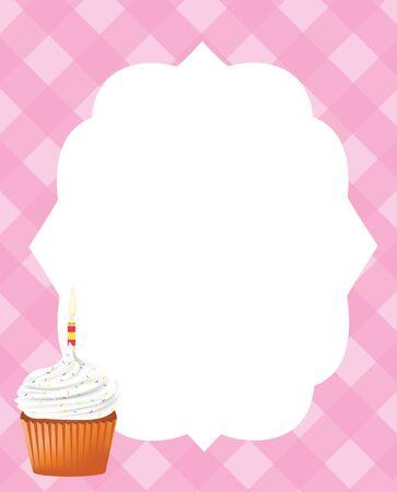 Birthday card template for girls, vector Illustration