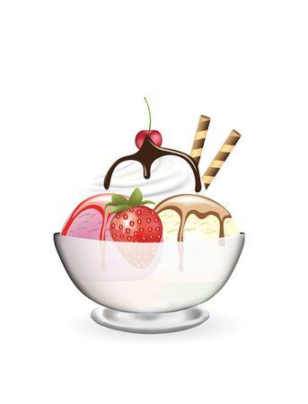Gelato in un bicchiere con fragola e ciliegia, vettore