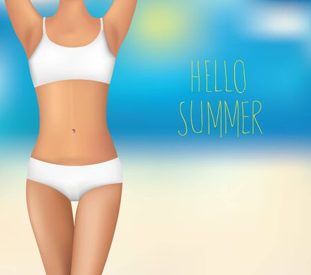 Women body and text hello summer. vector