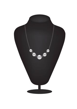 Mannequin silhouette with pearl necklace, vector