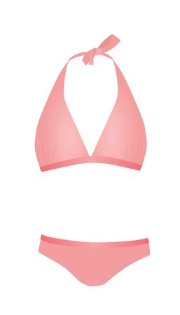 Pink swim suit. vector illustration