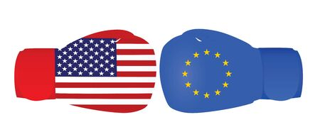 Boxing gloves with USA and EU flags. trade war. vector illustration