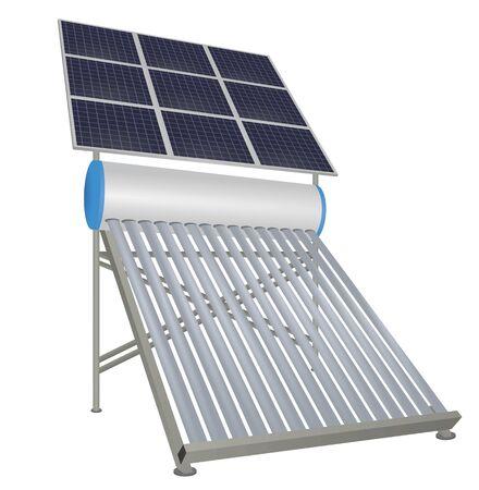 Zonnepijpenverwarmer met zonnepanelen. vector illustratie Vector Illustratie