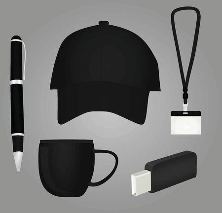 Promotional black brand items. vector illustration