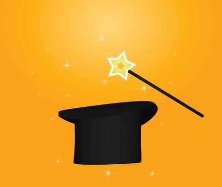 Magic hat and stick. vector illustration Ilustracja