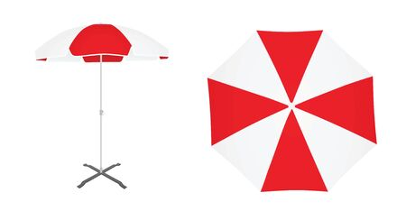 Red and white sun umbrella. vector illustration Ilustração