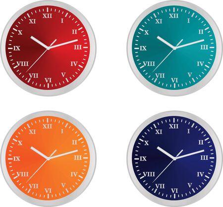 Colorful clocks. vector illustration