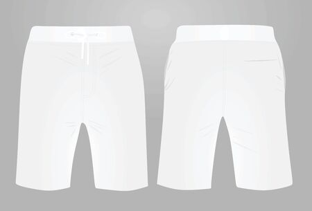 White shorts, front and back view, vector illustration
