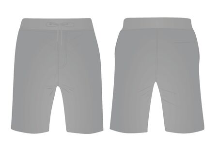 Grey  shorts, front and back view, vector illustration